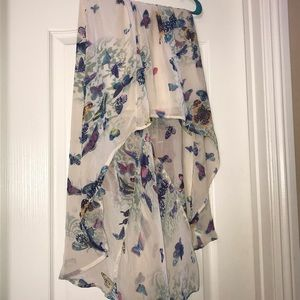 Charlotte Russe Skirts - High-low silky skirt with colorful butterflies